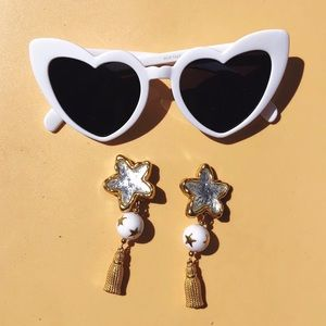 Vtg 80s Novelty Star Earrings